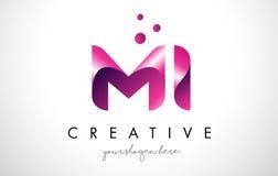 Letra Logo Design do MI com cores roxas e pontos Imagem de Stock Royalty Free