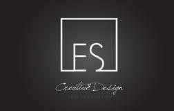 Letra Logo Design do quadro do quadrado do ES com cores preto e branco Imagens de Stock Royalty Free