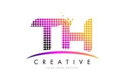 Letra Logo Design do TH T H com pontos magentas e Swoosh Fotografia de Stock Royalty Free