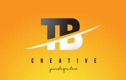 Letra Logo Design moderno da TB T B com fundo amarelo e Swoo Fotografia de Stock