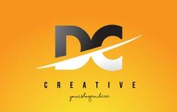 Letra Logo Design moderno de DC D C con el fondo amarillo y Swoo Fotografía de archivo libre de regalías