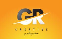 Letra Logo Design moderno de GR G R con el fondo amarillo y Swoo Imagen de archivo libre de regalías