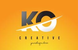 Letra Logo Design moderno del knock-out K O con el fondo amarillo y Swoo libre illustration