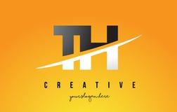 Letra Logo Design moderno del TH T H con el fondo amarillo y Swoo Foto de archivo libre de regalías