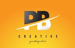 Letra Logo Design moderno do PB P B com fundo amarelo e Swoo Fotos de Stock