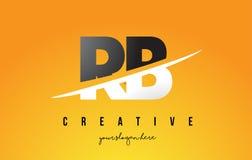 Letra Logo Design moderno do RB R B com fundo amarelo e Swoo Imagens de Stock