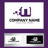 Letra Logo Design Vector Business Card de N Imagenes de archivo