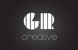 Letra Logo Design With White de GR G R y líneas negras Fotografía de archivo