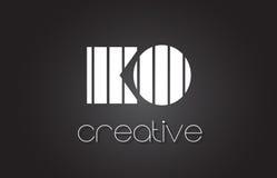 Letra Logo Design With White del knock-out K O y líneas negras ilustración del vector
