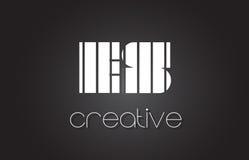 Letra Logo Design With White do ES E S e linhas pretas Imagem de Stock