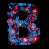 Letra luminosa B composta de formas poligonais abstratas imagem de stock royalty free