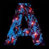 Letra luminosa A composta de formas poligonais abstratas imagem de stock
