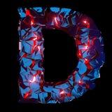 Letra luminosa D composta de formas poligonais abstratas fotografia de stock royalty free