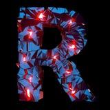 Letra luminosa R integrada por formas poligonales abstractas foto de archivo libre de regalías