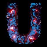 Letra luminosa U integrada por formas poligonales abstractas imágenes de archivo libres de regalías