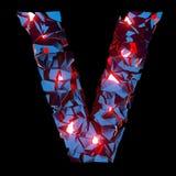 Letra luminosa V integrado por formas poligonales abstractas fotos de archivo libres de regalías