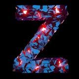 Letra luminosa Z integrada por formas poligonales abstractas imagen de archivo libre de regalías