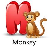 A letra M é para o alfabeto dos desenhos animados do macaco ilustração stock