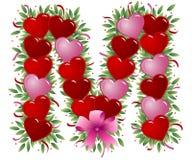 Letra M - Carta de la tarjeta del día de San Valentín ilustración del vector