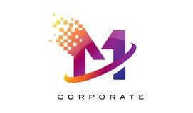 Letra M Colourful Rainbow Logo Design ilustração do vetor