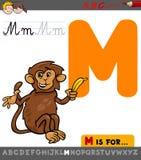 Letra m con el mono de la historieta stock de ilustración