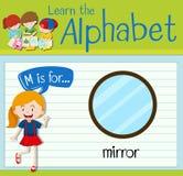 A letra M de Flashcard é para o espelho Imagens de Stock