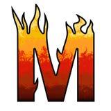 Letra M del alfabeto de las llamas Imágenes de archivo libres de regalías