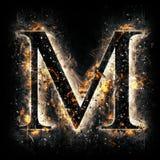Letra M del fuego Imagenes de archivo