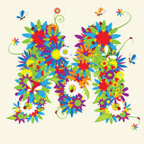 Letra M, diseño floral