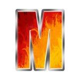 Letra M do alfabeto das flamas Fotos de Stock Royalty Free
