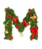 Letra M do alfabeto do Natal Fotos de Stock Royalty Free