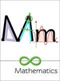 A letra M do cartão flash é para a matemática Imagens de Stock