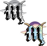 Letra M do estilo do tatuagem Imagem de Stock Royalty Free