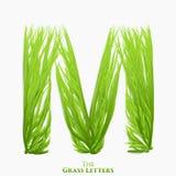 Letra M do vetor do alfabeto suculento da grama Símbolo verde de M que consiste crescendo a grama Alfabeto realístico de orgânico ilustração royalty free