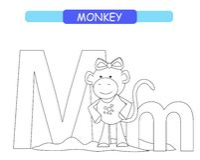 Letra M e macaco engra?ado dos desenhos animados P?gina da colora??o A-z do alfabeto dos animais Alfabeto bonito do jardim zool?g ilustração royalty free