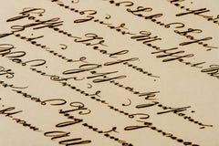 Letra manuscrita antigua Fondo de papel envejecido Foto de archivo libre de regalías