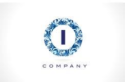Letra mim teste padrão azul Logo Design ilustração do vetor