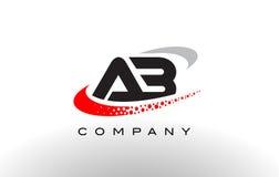 Letra moderna Logo Design do AB com Swoosh pontilhado vermelho Fotografia de Stock
