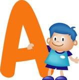 Letra A (muchacho) del alfabeto stock de ilustración