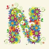Letra N, diseño floral