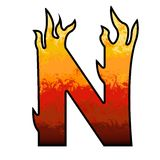Letra N do alfabeto das flamas Imagem de Stock