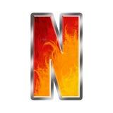 Letra N do alfabeto das flamas Fotos de Stock