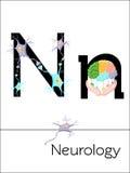 A letra N do cartão flash é para a neurologia Fotografia de Stock
