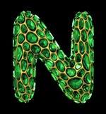 letra N do diamante 3D no preto isolado ilustração do vetor