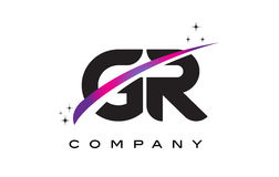 Letra negra Logo Design de GR G R con Swoosh magenta púrpura Imagen de archivo
