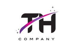 Letra negra Logo Design del TH T H con Swoosh magenta púrpura Imagen de archivo