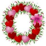 Letra O - Carta de la tarjeta del día de San Valentín ilustración del vector