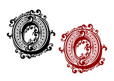 Letra O com elementos retros do ornamento Imagens de Stock