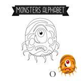 Letra O del alfabeto de los monstruos de la página que colorea Imagen de archivo libre de regalías