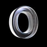 Letra O en el vidrio 3D Fotografía de archivo libre de regalías